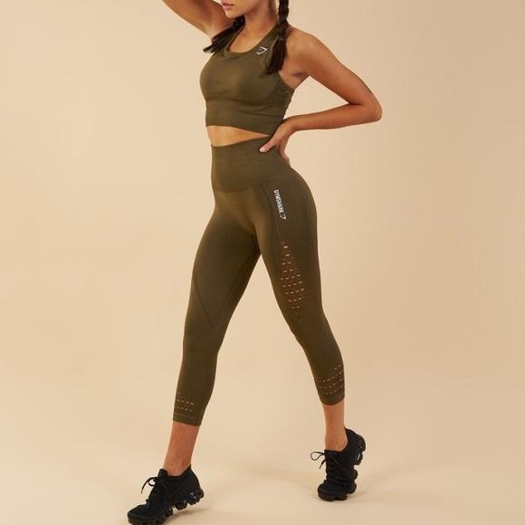 72f8ab9da6e27a Gymshark Pants | Energy Seamless Khaki Cropped Legging | Poshmark